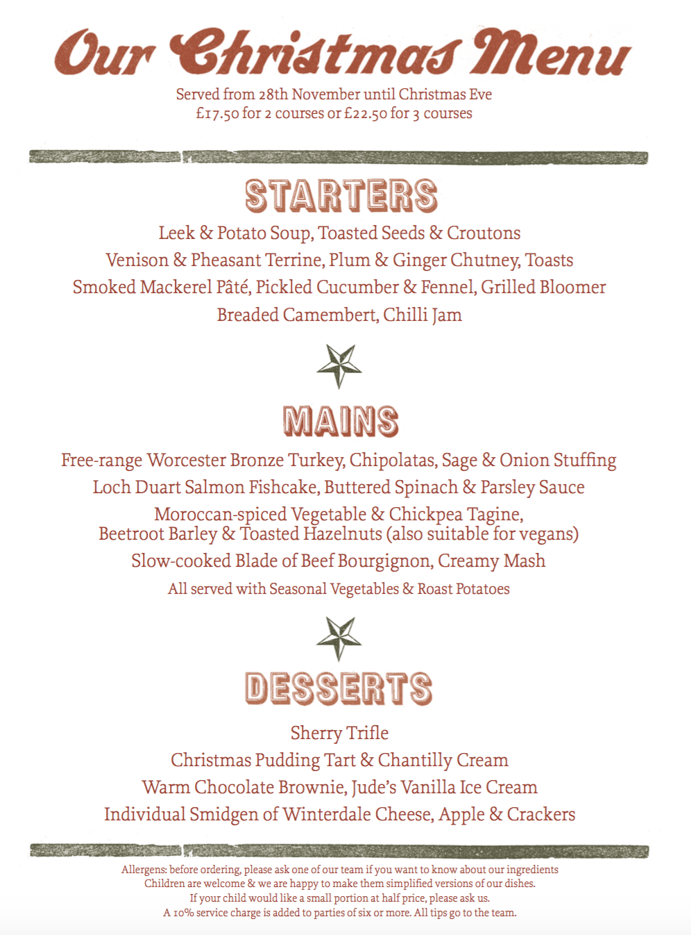 Your Christmas Party or Meal at The One Elm, Stratford-Upon-Avon
